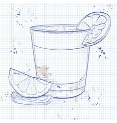 Cocktail pisco sour on a notebook page vector