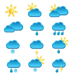 Weather icon with sun and cloud vector