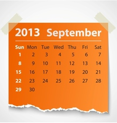 2013 calendar september colorful torn paper vector image