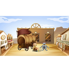 A boy and a robot near a wagon vector image vector image