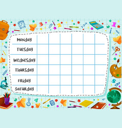 Back to school flat timetable schedule vector