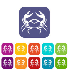 big crab icons set flat vector image vector image