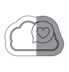 cloud hosting data bubble with heart inside vector image