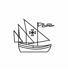 Columbus ship icon outline style vector image