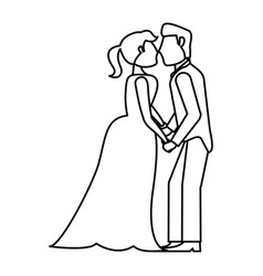Couple kissing wedding romantic outline vector