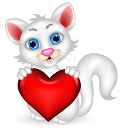 Cute fluffy white cat holding heart love vector