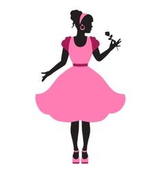 elegant feminine silhouette in retro style vector image