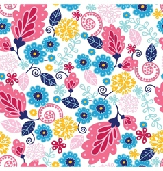Fairytale flowers seamless pattern background vector