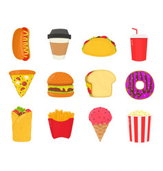 Fast foodsnacks set french fries hot dog vector