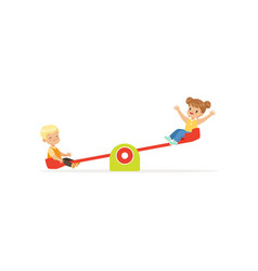 flat of toddler boy and girl vector image
