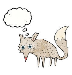 Funny cartoon wolf with thought bubble vector