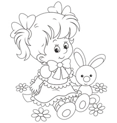 Girl and bunny vector