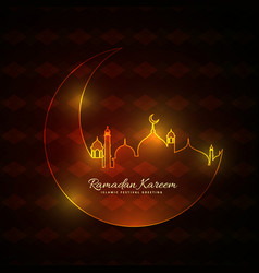 Glowing neon style muslim mosque with moon vector