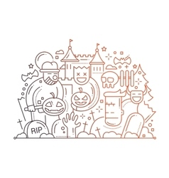 Halloween - line flat design card vector image vector image