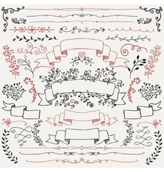 Hand Drawn Floral Design Elements Ribbons vector image vector image