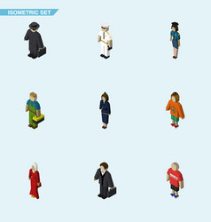 Isometric human set of seaman businesswoman vector