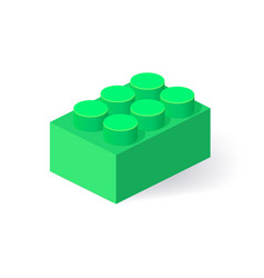 Isometric plastic building block with shadow vector