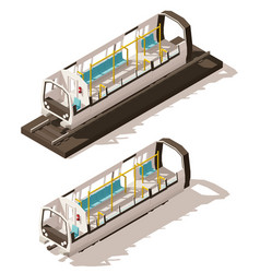 Isometric subway train cross-section vector