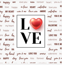 lettering love and glossy heart in frame vector image vector image