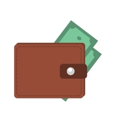 Money in wallet flat design for business and vector