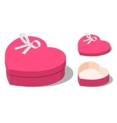 Opened and closed present heart shaped gift boxes vector