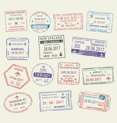 passport stamp of travel visa for tourism design vector image vector image