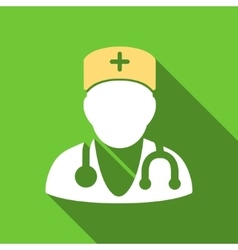 Physician flat long shadow square icon vector