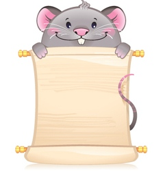 Rat with scroll - symbol of Chinese horoscope vector image vector image