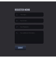 register form for your website vector image vector image