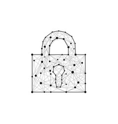 security lock composed of polygons lines and dots vector image vector image