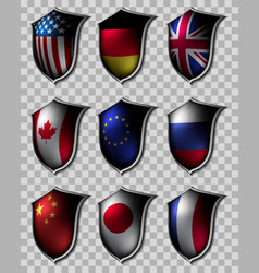 set of shields with flags vector image vector image