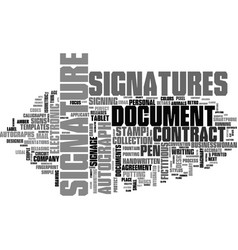 Signatures word cloud concept vector