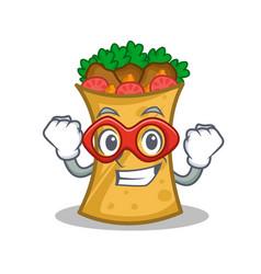 Super hero kebab wrap character cartoon vector