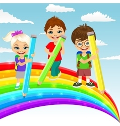Three little children drawing rainbow vector