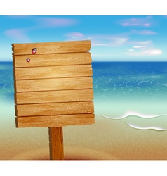 Tropical Background with a Wooden Sign vector image vector image