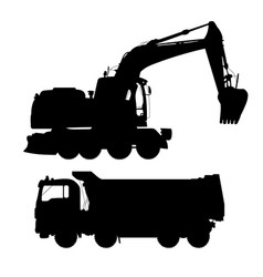 Truck and excavatordetailed silhouettes of vector
