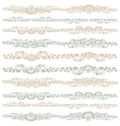 Vintage floral elements beige blue on white vector image