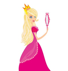 Young blond hair princess with mirror in her hands vector