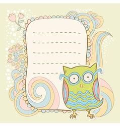Cute cartoon owl stylish sticker card vector image