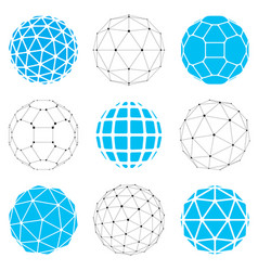 Set of low poly spherical objects with connected vector