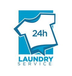 Laundry service emblem with t-shirt vector
