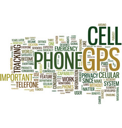gps cell phone text background word cloud concept vector image