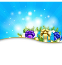 Blue Sunburst Background With Gift vector image