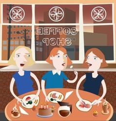 Three best friends in the coffee shop vector