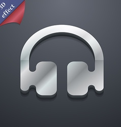 Headphones earphones icon symbol 3d style trendy vector