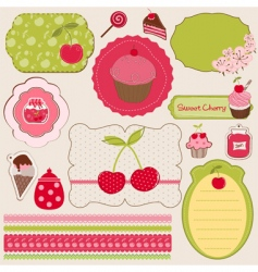 Cherry design elements vector