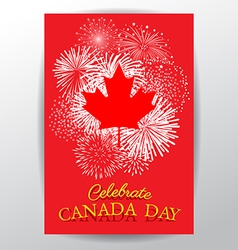 Maple leaf with firework poster for celebrate the vector