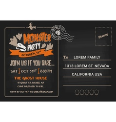 Halloween monster party postcard invitation vector