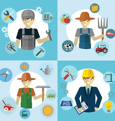Set of workers mechanic gardener construction vector