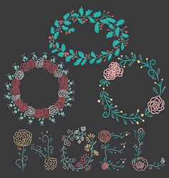 Christmas flowers borders vector